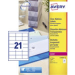 Avery Addressing Labels QuickPEEL Transparent 525 Labels per pack Pack 25