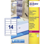 Avery Clear Laser Labels 14 Per Sheet 38 x 99mm L7563 25