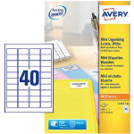Avery Mini Labels 457 X 254 40 Labels Per Sheet 25 Sheets Per Pack L7654 25