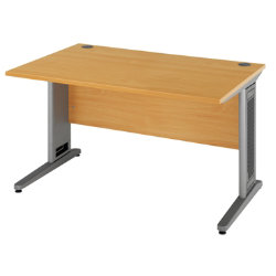 Largo 1400mm straight office desk in beech effect by viking - Viking office desk ...