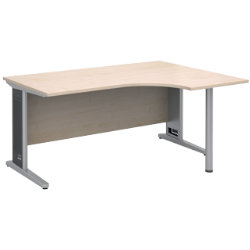 Largo Maple Effect Right Hand Ergonomic Desk Maple 160W x 120D x 73H cm