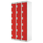 Link Lockers Nest Of Three 6 Door Lockers Grey With Red Doors