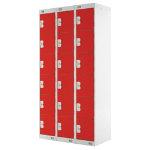 Link Lockers Nest Of Three 6 Door Lockers Grey With Red Doors