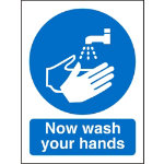 Mandatory Sign Now Wash Your Hands Self Adhesive Vinyl 150 x 200 mm
