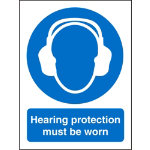 Mandatory Sign Hearing Protection Must Be Worn PVC 150 x 200 mm