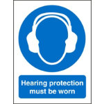 Mandatory Sign Hearing Protection Must Be Worn Self Adhesive Vinyl 150 x 200 mm