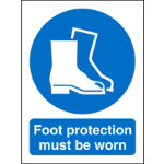 Mandatory Sign Foot Protection Must Be Worn Self Adhesive Vinyl 150 x 200 mm