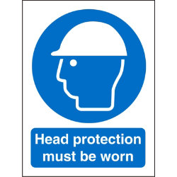Mandatory Sign Head Protection Must Be Worn Self Adhesive Vinyl 150 x 200 mm