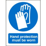 Mandatory Sign Hand Protection Must Be Worn Self Adhesive Vinyl 150 x 200 mm