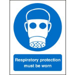 Mandatory Sign Respiratory Protection Must Be Worn Self Adhesive Vinyl 150 x 200 mm
