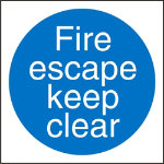 Mandatory Sign Fire Escape Keep Clear Self Adhesive Vinyl 100 x 100 mm