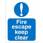 Mandatory Sign Fire Escape Keep Clear PVC 150 x 200 mm