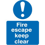 Mandatory Sign Fire Escape Keep Clear Self Adhesive Vinyl 150 x 200 mm