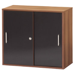 Office Depot Mexico desk high office storage cupboard walnut effect