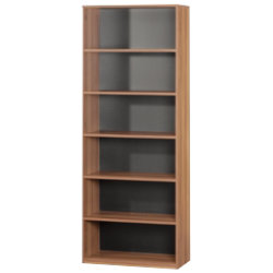 Mexico tall five-shelf office storage bookcase in walnut-effect