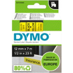 Dymo D1 Labels Black On Yellow 12mm x 7m