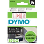 Dymo Tape 9mm x 7m Red on White