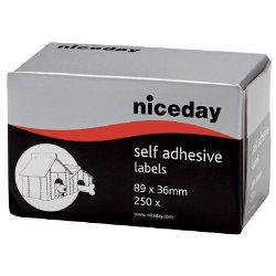 Niceday Self Adhesive Address Labels 89 x 36mm 250 Labels Per Box