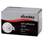 Niceday Address Labels White 36 x 89 mm 250 Labels per pack Box 250