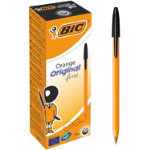 Bic Cristal Orange Fine Ballpoint Black Pack of 20
