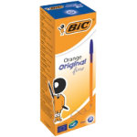 Bic Cristal Orange Fine Ballpoint Blue Pack of 20