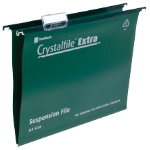 Rexel Crystalfiles Extra Suspension Files Polypropylene 15mm Capacity A4 Green Box 25