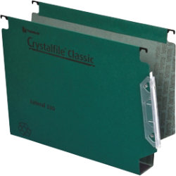 Rexel Crystalfile Classic Lateral Suspension Files Manilla 50mm Capacity W330xH280mm Green Box 25