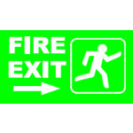 Fire Exit Right W280 x H45mm Rigid Sign
