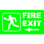 Fire Exit Left 45H x 280Wmm Rigid Sign