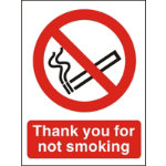 Prohibition Signs Thank You For Not Smoking Self Adhesive Vinyl 150 x 200 mm