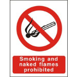 Prohibition Signs Smoking And Naked Flames Prohibited Self Adhesive Vinyl 150 x 200 mm