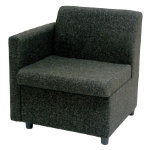 GGI Right Arm Reception Chair Fabric Charcoal Grey