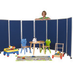 Concertina Display System Room Divider Black 7 Screen 150 cm