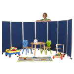 Concertina display system room divider 7 screen 150cm red