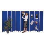Concertina 9 screen display room divider 150cm black