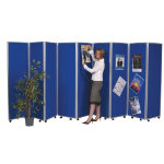 Concertina 9 screen display room divider 180cm royal blue