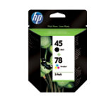 Original HP No45 and No78 black and tri colour cyan magenta yellow  printer ink cartridge twinpack