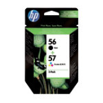 Original HP No56 and No57 black and tri colour cyan magenta yellow printer ink cartridge multipack SA342AE