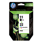 Original HP No21 black and and No22 tri colour cyan magenta yellow printer ink cartridge twinpack SD367AE