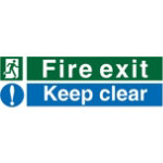 Safety Procedure Sign Fire Exit Keep Clear Self Adhesive Vinyl 600 x 200 mm
