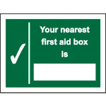 First Aid Sign Your Nearest First Aid Box Is Self Adhesive Vinyl 150 x 200 mm