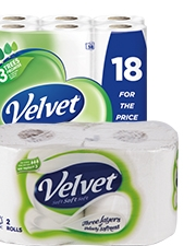 As low as €8.49 Triple Velvet Toilet Roll
