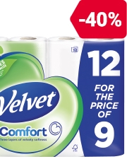 From €4.29 12 for the price of 9 White Velvet Toilet Tissues