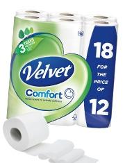 Pack of 18 4 for €27 Velvet toilet rolls