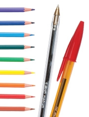 Free colouring pencils with Bic Cristal pens
