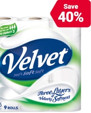From £7.99 £4.79 Pack of 9 White Velvet Toilet Tissues