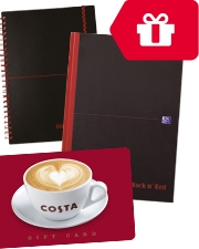 Free Costa coffee gift card Oxford Black n' Red Notebooks
