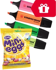 Free Cadbury Mini Eggs With Stabilo Boss Highlighters Assorted – 4 Pack