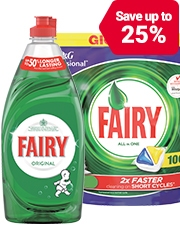 From £1.49 Fairy Dishwasher products