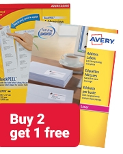 Buy 2 get 1 free with Avery laser labels